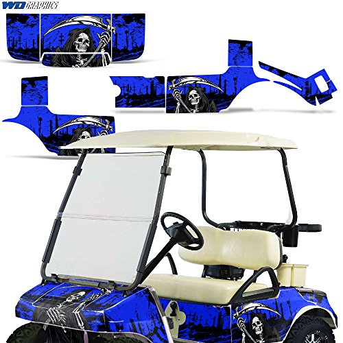 Wholesale Decals Golf Cart Graphics kit Sticker Decal Compatible with Club Car 1983-2014 - Reaper V2 Blue