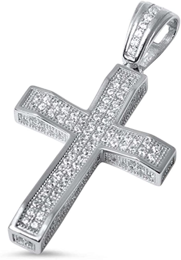 Micro Pave Cubic Zirconia Ranking TOP9 Cross Sterling Max 57% OFF Silver COL Pendant .925