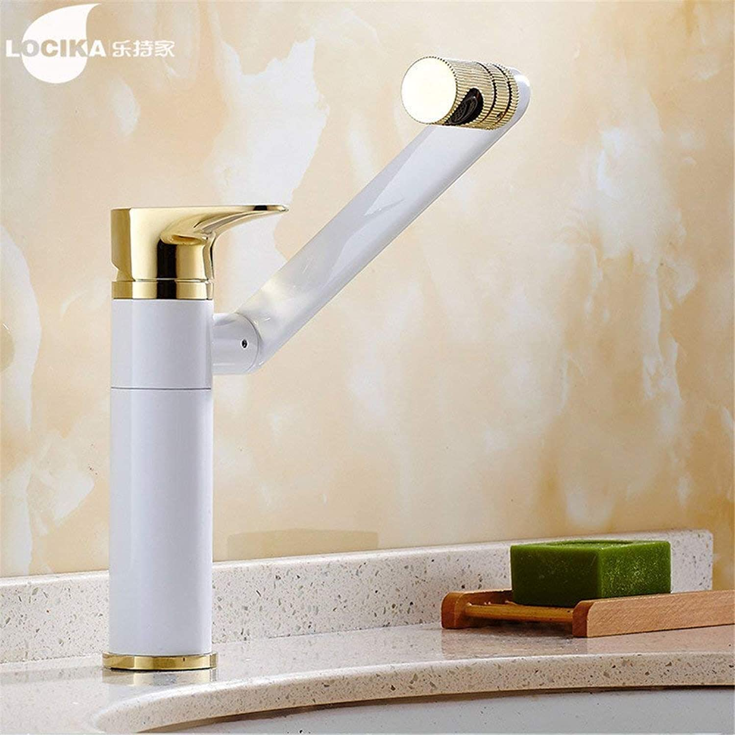 FuweiEncore Basin, Hot and Cold Water Faucet, Single Hole, All Copper, Revolving Bathroom Cabinet, Washroom, Toilet, Wash Basin, Basin, Warm, White and gold. (color   -, Size   -)