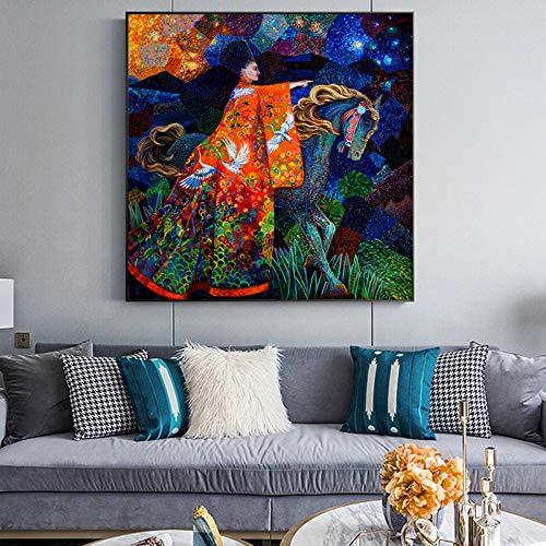 tzxdbh Abstract Art Vrouw En Paard Canvas Schilderen Muur Kunstfoto Voor Woonkamer Slaapkamer Moderne Decoratieve Foto's Geen Frame-in Schilderij & Kalligrafie van Huis & Tuin Groep 8X8cm With Frame
