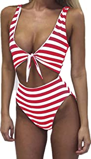 Womens Swimsuits High Waisted One Piece Bathing Suits Sexy Tie Knot Front Bikini