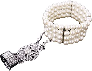 1920s Flapper Great Gatsby Crystal Pearl Costume Bracelet Ring Set