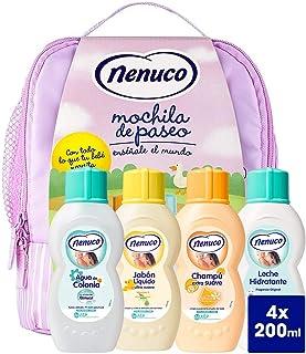Nenuco Pack Bebé Mochila de Paseo color rosa, contiene colonia, jabón, champú y leche hidratante, 4 x 200 ml