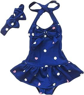 Baby Girls Swimwear One Piece Swimsuits Beach Wear with Headband