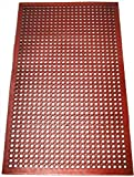 New Star Foodservice 54521 Commercial Grade Grease Resistant Anti-Fatigue Rubber Floor Mat, 36' x 60', Red