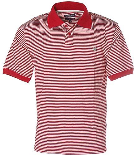 BASEFIELD Herren Kurzarm Shirt Poloshirt Streifen L 52 rot weiß