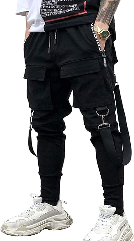 Men's Elastic Waist Harem Pants Jogger Drawstring Motor Biker Punk Trousers Hip Hop Pockets Sweatpants