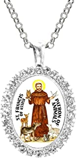 St Francis of Assisi Patron of Animals Cz Crystal Silver Necklace Pendant