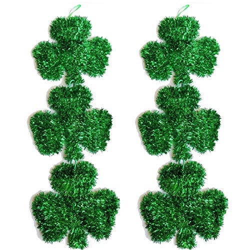 Hemmet Shamrock Garland Clover Tinsel Garland Hanging Green St Patricks Day Decorations for The Home Front Door Saint Patrick#039s Day Outdoor Room Wall Art Hanger Irish Décor for The Porch Outside