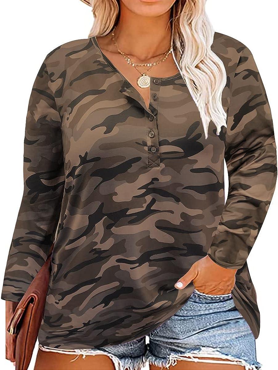 Ritera Plus Size Tops for Women Long Sleeve button Casual Loose Shirt Oversized Tunic tshirt XL-5XL
