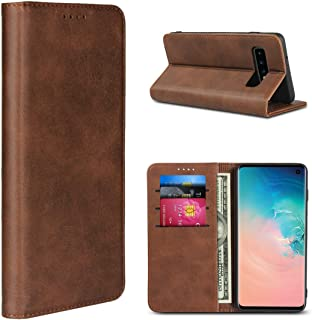 Samsung S10 Case, iCoverCase Leather Wallet Case Cover Strong Magnetic Holster Shockproof Heavy Duty Protective Flip Case ...