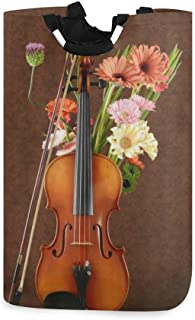 COFEIYISI Grand Organiser Paniers pour Vêtements Stockage,Musique Classique Violon Et Fleur Instrument De Musique Daisy Fl...