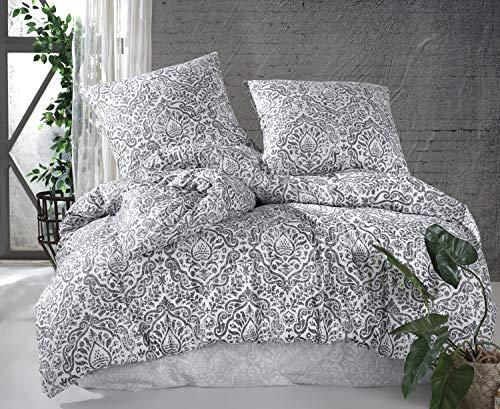 Bettwäsche 155x220 + 80x80cm Kissenbezug Deluxe 2 Teilig aus 100% Baumwolle Renforce mit Reißverschluss Bettwäscheset Bettbezug deutsche Standardgrößen