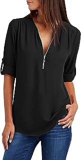 Tuopuda Camicia Donna Bluse Camicette Chiffon Scollo T-Shirt Camicie Felpa Magliette Manica Lunga Cerniera Pullover Top El...