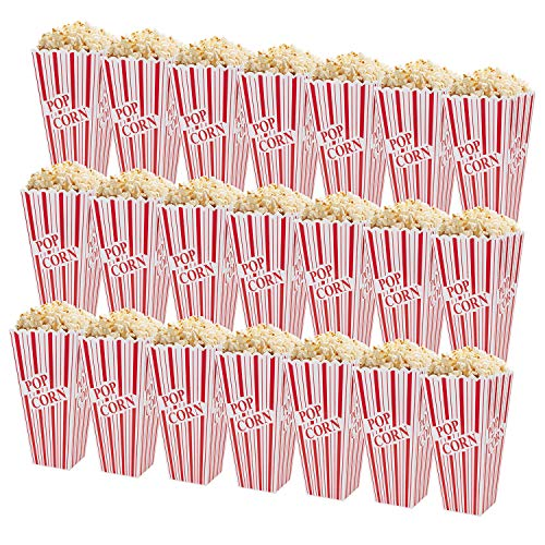 Fasmov 21 Pack 7.7 x 4 Inches Plastic Open-Top Popcorn Boxes Reusable Popcorn Container Set for Movie Night or Movie Party Theme