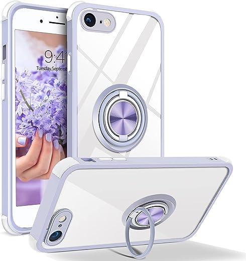 BENTOBEN Coque iPhone 8, Coque iPhone 7/SE Transparente Housse Violet Slim Fit avec Support à Double Anneau 360° Béquille Support de Voiture...