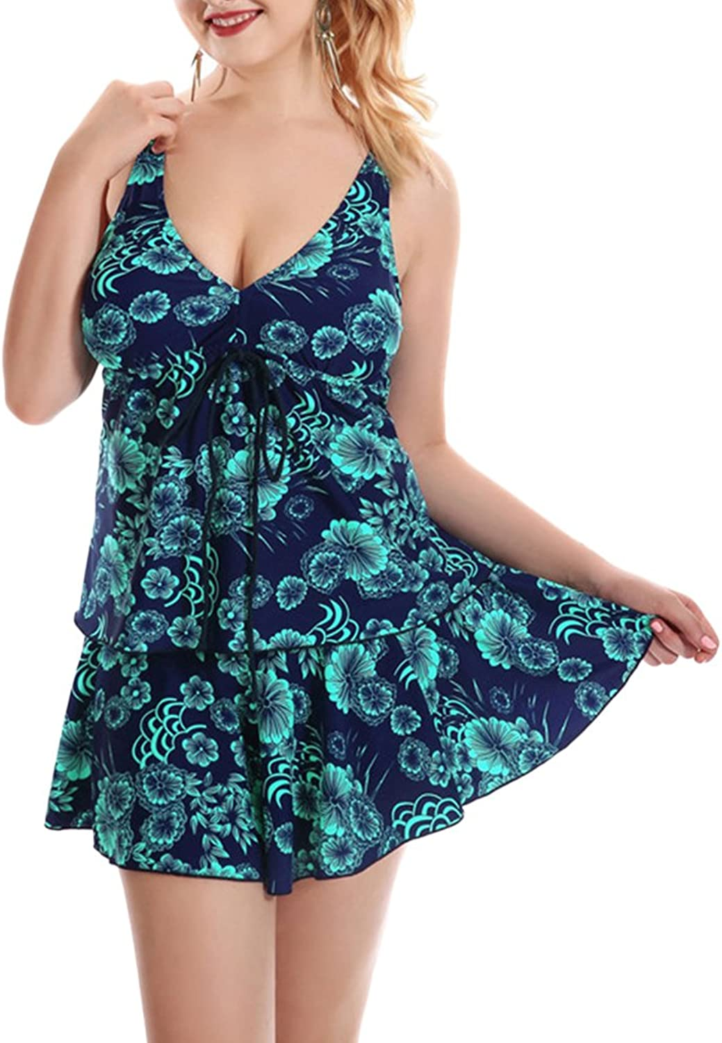 Zhhlinyuan Womens 3 Pieces Plus Size Swimsuit Swimming Costume Elastic Quick Dry Bowknot Swimdress With Skirt
