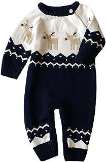 6b518bd86 HCFKJ Mameluco De Bebé ReciéN Nacido Ropa De Navidad Jerseys De Punto Traje  De Reno