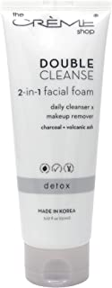 The Crème Shop Korean Beauty Skincare Best Daily Makeup Remover, Brightens Regenerates Relief Acne Scars and Redness, Deep Cleansing Silky Texture-Double Cleanse 2 in 1 Facial foam Cleanser(Charcoal)