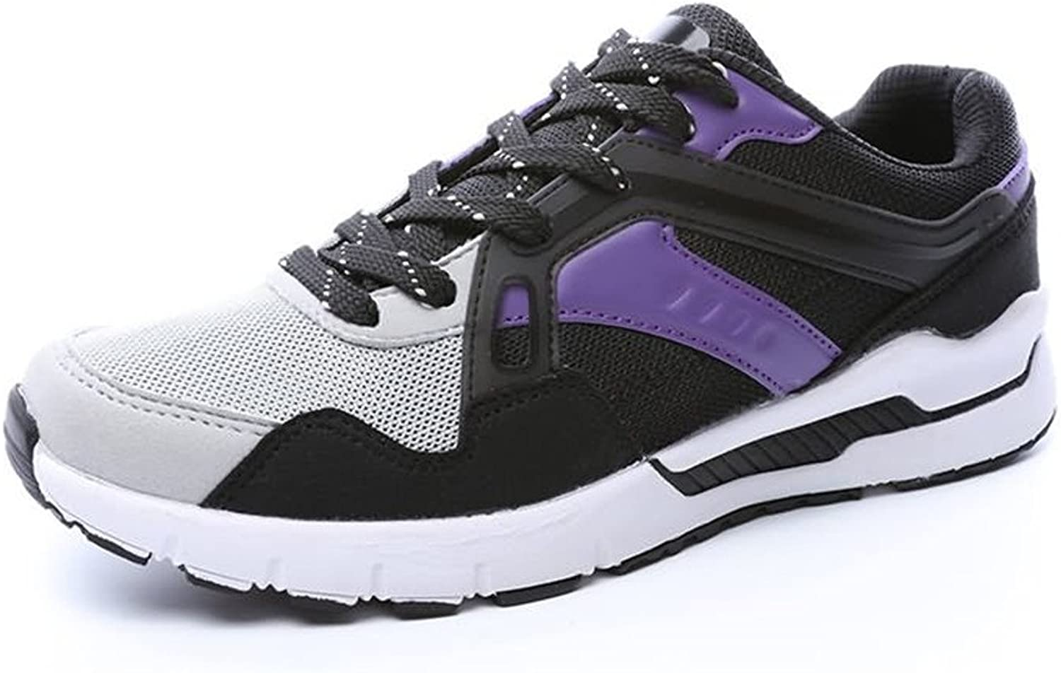 2018 New Women and Men's Breathable Flat Heel Lace up Leisure Athletic shoes (color   Black Purple, Size   6.5 MUS)