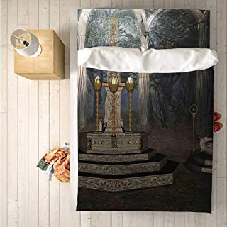 Gothic Comfortable 4 Piece Bedding Set,The Ritual Scenery in Secret Forest Obelisk Between Marble Thrones with Skull Engraving for Hotel,One Side Print : Double