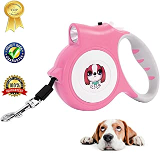 Retractable Dog Leash For Small Dog Led Flashlight Holder For Walking Safety,Easy Grip Tape,Quick Release Mechanism 16 Ft Led Dog Walking Leash For Medium Small Dogs,Pink Pet Leash