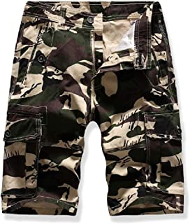 Howely Mens Outdoor Casual Camo Multi Pockets Relaxed-Fit Cargo Shorts