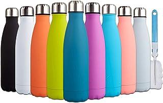 I Kua Fly Botella Agua Acero Inoxidable 500ml sin BPA Doble Pared Aisladas Reutilizable Botella Termica con Pincel, Mantiene Bebidas 24h frías y 12h Calientes