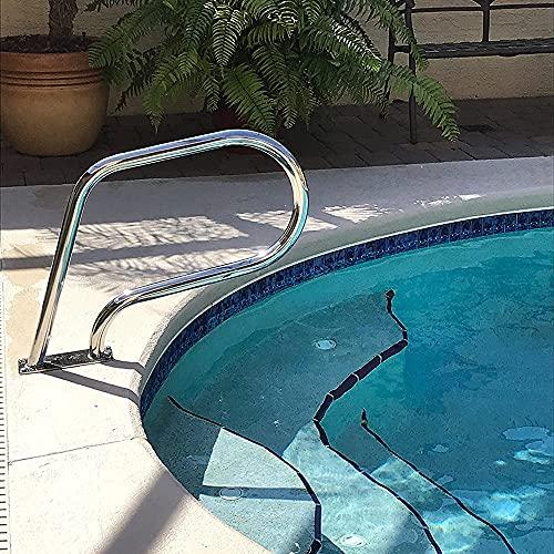 """Comif-bar stool Zwembad reling 32 """"× 22.5"""" 304 roestvrij staal veiligheidsleuning, met snelle installatiebasis, zilver anti-roest"""