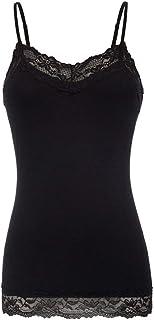 Kate Kasin Women's Adjustable Spaghetti Strap Lace Trim Cami Tunic Tank Top