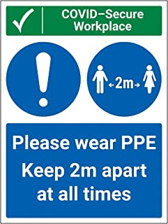 V Safety CV136BC-R Vsafety COVID-Secure Workplace-PPE/Keep 2m Apart 300mm x 400mm-1mm Rigid Plastic