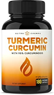Turmeric Curcumin with BioPerine 1500mg - 180 Capsules with 95% Curcuminoids Extra Strength Supplement w Black Pepper Extract for Pain Relief, Joint Support, Inflammation - Highest Potency