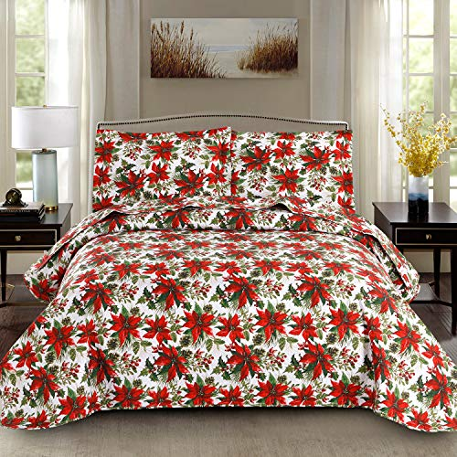 Christmas Quilt Set Full/Queen Size Poinsettia Floral Bedspread Coverlet New Year Holiday Bedding Decoration Lightweight Christmas Flower Bed Set Blanket with Pillow Shams