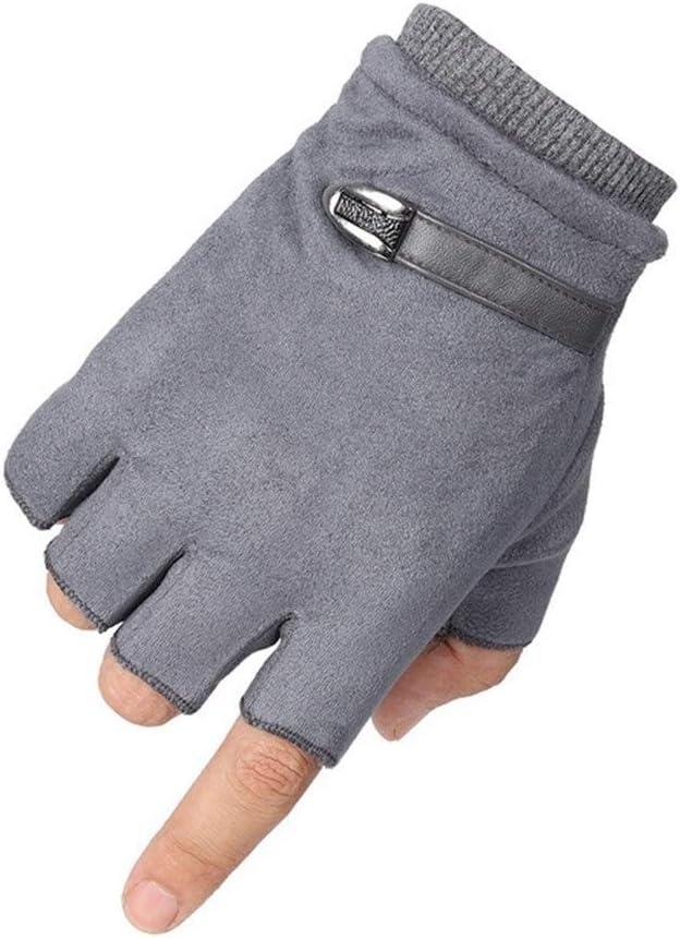ZZTT Autumn and Winter Gloves Driving Suede Leather Black Grey Half Finger Men Elastic Gloves Outdoor Bike Mittens Winter Warm Gloves Fingerless Men Gloves Warm and Comfortable Gloves