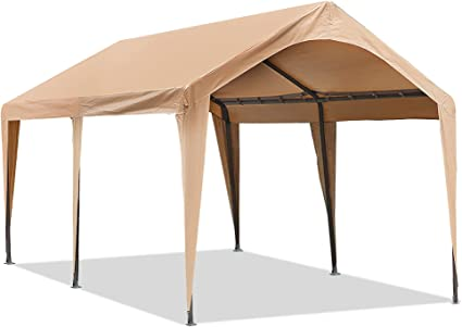 Amazon Com Abba Patio 10x20 Ft Heavy Duty Carport Car Canopy Portable Garage Boat Shelter With Fabric Pole Skirts For Party Wedding Garden Outdoor Storage Shed 6 Steel Legs Beige Garden Outdoor