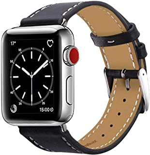 Marge Plus Compatible with Apple Watch Band 42mm 44mm, Genuine Leather Replacement Band Compatible with Apple Watch Series 5 4 (44mm) Series 3 2 1 (42mm), Black Band+ Silver Adapter