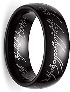 King Will 8mm Tungsten Carbide Ring for Men Black Lord of The Rings Comfort Fit High Polished