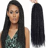 Befunny 8 Packs 18' Senegalese Twist Crochet Hair Small Crochet Braids Pre Looped Mini Havana Mambo Twist Crotchet Hair Synthetic Braiding Hair 20strands/pack(18inch, 1B#)