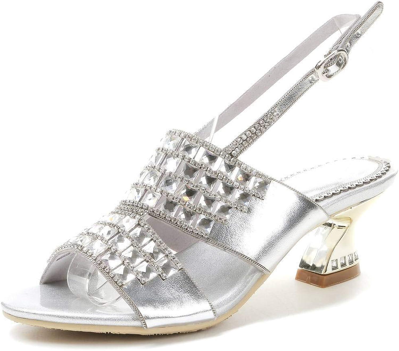 LizForm Women Rhinestone Studded Heeled Sandals Ankle Strap shoes Chunky Kitten Heels