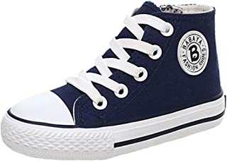 iDuoDuo Kids' Casual High Top Sneaker Girls Zipper Lace Up Classic Canvas Shoes Size 8.5-3