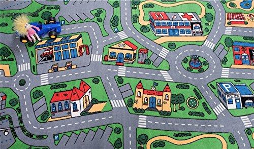 havatex Kinderteppich Straße - Spielteppich GUT-Siegel TÜV-geprüft schadstoffgeprüft | Kinderzimmer Spielzimmer | Geburtstag Einschulung Geschenk, Farbe:Multicolor, Größe:60 x 120 cm