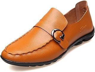 [QIFENGDIANZI] ドライビングシューズ メンズ ブラウン イエロー ネイビー ブラック 24.0cm-27.0cm おしゃれ 紳士靴 スリッポン 快適 ソフト コンフォート