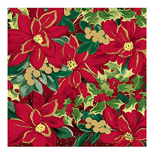 Dining Collection Christmas Lunch Size Napkins Holiday Poinsettia - 20 Count