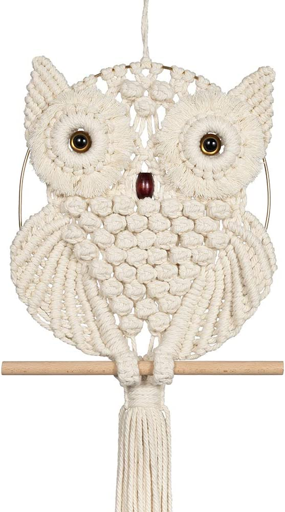 Oakeer Owl Macrame Wall Hanging Handmade Cotton Woven Hanging Tapestry Dream Catcher Art Decoration for Living Room Bedroom Office Gallery Decoration (Beige, 11.8'' x 34.5'')