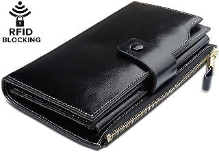 YALUXE Genuine Leather Wallet Women's RFID Blocking Large Capacity Luxury Wax Clutch Multi Card Organizer