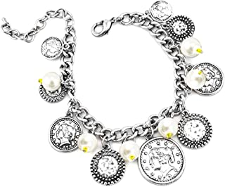 LookLove Womens Jewelry Silver Coin and Imitation Pearl Charm Bracelet 7.5