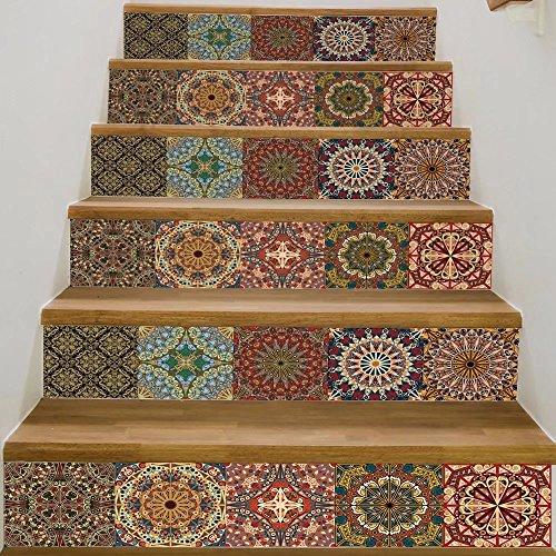 Frolahouse Arabischen Stil Keramik Fliesen Muster Treppen Aufkleber selbstklebende DIY Entfernbare Wandtattoos 18x100 cm, 6 teile/satz