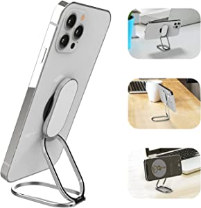Upgraded APEKX Phone Ring Holder Finger Kickstand Foldable Cell Phone Stand Adjustable Smartphone Grip for Hand Magnetic Metal Compatible with Android Phone and iPhone - Silver