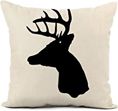 rouihot Linen Throw Pillow Cover Buck Whitetail Deer Head Silhouette Woods Antler Archery Arrow Home Decor Pillowcase 16x16 Inch Cushion Cover for Sofa Couch Bed and Car