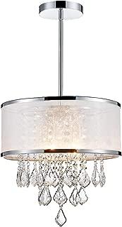 ANJIADENGSHI Modern K9 Crystal Raindrop Chandelier Lighting Drum LED Ceiling Light Fixture Pendant Lamp for Dining Room Bedroom Living Room 4 E12 LED Bulbs Height 14 x Width 16